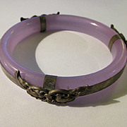 Chinese Lavender Glass Bangle with Mandarin Ducks Motif