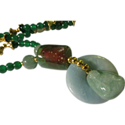 Chinese Carved Jade Buddha Charm with Jade Bead Necklace, 21""