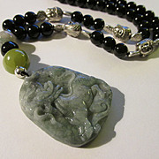 "Chinese Green Jade ""Kylin"" Pendant with Tibet Silver Buddha Charms and Black Onyx Bead Necklace, 19"""
