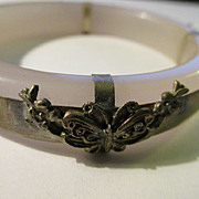 Lavender Peking Glass Bangle with Chinese Silver Butterfly Charms