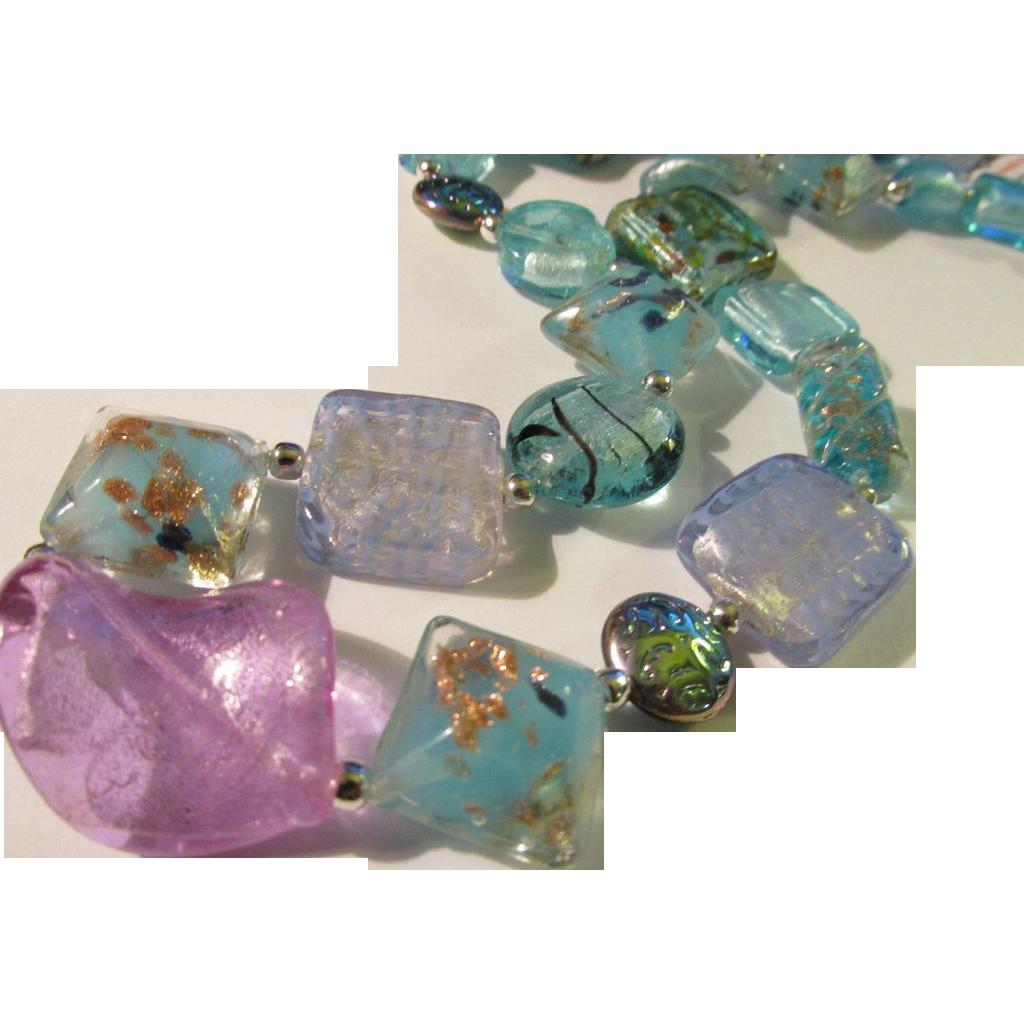 Silvery aquamarine blue artisan glass bead necklace 20 for Eurasia jewelry miami fl