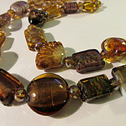 Golden Bronze Artisan Glass Bead Necklace, 21""