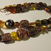 """Golden Glass Bead Necklace, 24"""""""