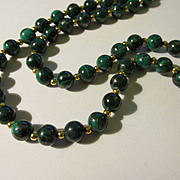 Malachite-Pyrite Bead Necklace, 22""