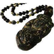 "Kwan Yin Goddess of Mercy Jade Pendant with Black Onyx and Kambala Jasper Bead Necklace, 22"""