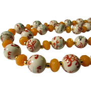 Chinese Porcelain Bird Bead and Faceted Gemstone Bead Necklace, 26""