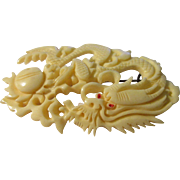 Vintage Carved Bone Brooch of Chinese Dragon Chasing Mystical Pearl