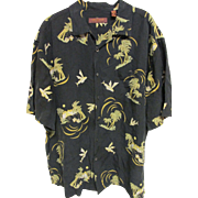 Tori Richard of Honolulu Silk/Linen Palm Tree Aloha Shirt, Size XL