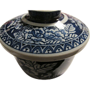 Japanese Blue-and-White Ceramic Peony Rose Ceramic Cup with Lid