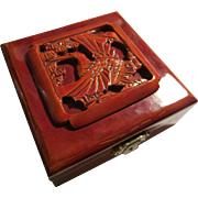 Chinese Carved Wooden Keepsake Jewelry Trinket Box