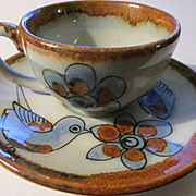 Ken Edwards of El Palomar Mexican Pottery, Demitasse Set of Bird and Flowers