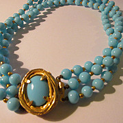 Vintage Philip Hulitar Mid-Century Blue Glass Triple Strand Necklace with Ornate Robin's Egg Clasp