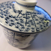 Japanese Blue-and-White Bamboo Teacup with Matching Lid