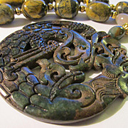 Mythical Dragon and Phoenix Jade Medallion with Kunzite Bead Necklace, 19""