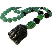 """Chinese Carved Buddha with Dragon's Vein, Black Onyx, and Green Gemstone Bead Necklace, 20"""""""