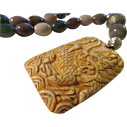 Chinese Dragon Carved Bone Pendant with Multi-Colored Jasper Bead Necklace, 22""