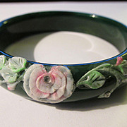 Dark Green Agate Bangle with Floral Motif, 68mm