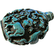 Twelve Animal Zodiac Turquoise Resin Snuff Bottle - Red Tag Sale Item