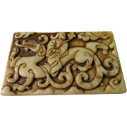 Chinese Jade Collectible Tablet of Man Riding Dragon