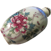 Hand Painted Ceramic Snuff Bottle of Birds and Peony Blossoms