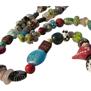 Double Red Heart Peking Glass-Silver Foil-Handcrafted Village Pottery Bead Necklace, 26""
