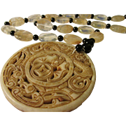 Chinese Jade Medallion of the Good Fortune Trio--Dragon, Phoenix, Money Bat--with Quartz and Onyx Bead Necklace, 24""