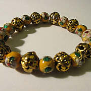 Chinese Golden Yellow Handcrafted Cloisonne Enamel Bead Bracelet
