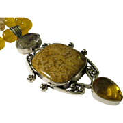 "Ocean Jasper-Citrine-Topaz Artisan Pendant with Yellow Quartz Bead Necklace, 19"""