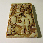 Carved Chinese Jade Collectible of Man on Camel
