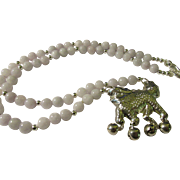 Chinese Silver Dancing Lion Dog Pendant with White Jade Bead Necklace, 22""