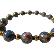 Chinese Periwinkle Blue Enamel Cloisonne Floral Bead Bracelet