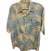 Vintage Bird-of-Paradise, Hibiscus, Palm Leaf Hawaiian Print Aloha Shirt, Size XL