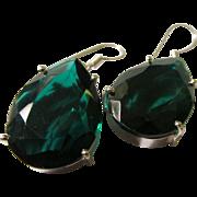 Deep Green Quartz Teardrop Earring