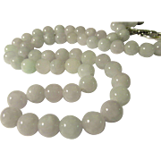 Chinese Pale Lavender-Green Jade Bead Necklace, 21""