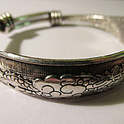 Old Chinese Miao Silver Bangle of Dragon and Phoenix Chasing the Elusive Pearl