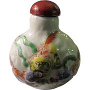 Chinese Five Lion Foo Dogs Porcelain Snuff Bottle