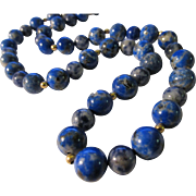 Blue Lapis Lazuli and Sodalite Bead Necklace with 14K Gold Filled Spacers, 24""