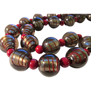 Artisan Silver Foil Glass Striped Bauble Beads with Scarlet Gemstone Bead Necklace, 22""