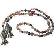 """Tibetan Silver Fish Charms with Assorted Gemstone Bead Lariat Style Necklace, 40"""""""