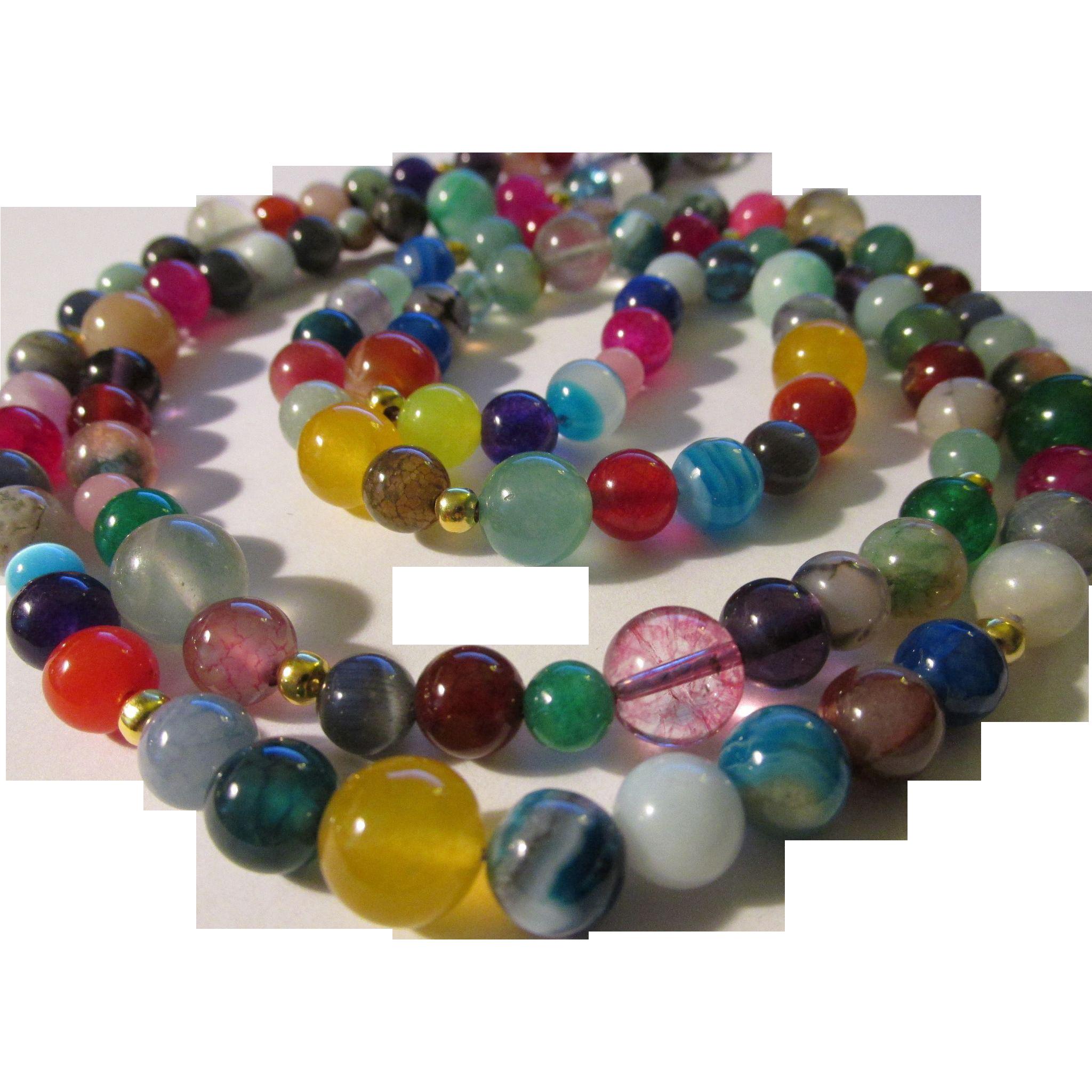 endless rainbow colored multi gemstone bead necklace 38
