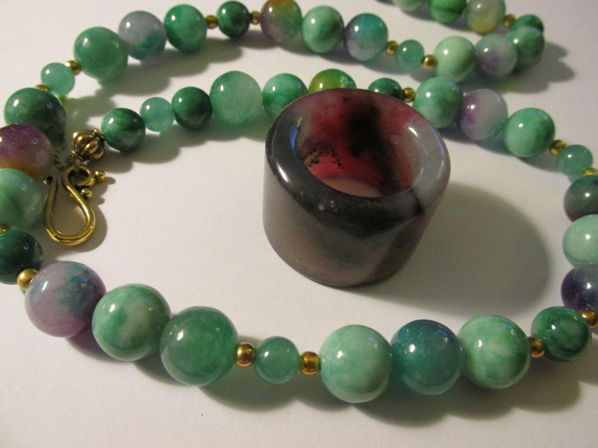 Chinese Tri-Color Jade Archer Ring on Green Jade Bead Necklace ...