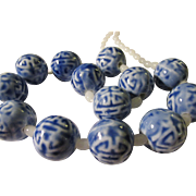 Blue-and-White Chinese Ceramic Bead Necklace with White Jade Necklace, 22""
