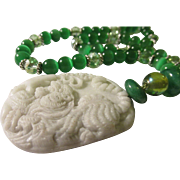 """Carved Tiger on White Jade Pendant with Emerald Green Cat's Eye and Crystal Bead Necklace, 22"""""""