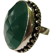 Faceted Forest Green Agate Gemstone Finger Ring with Silver-Plated Setting, Size 8