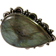 Natural Labradorite Teardrop Finger Ring in Silver-Plated Setting, Size 7