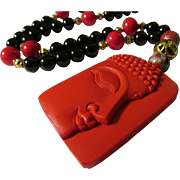 Red Cinnabar Buddha Pendant with Black Onyx, Chinese Cloisonne, and Red Gemstone Bead Necklace, 22""
