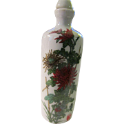 Chinese White Ceramic Snuff Bottle with Hand-Painted Chrysanthemums and Plum Blossoms