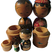 Rare Vintage Japanese Kokeshi Doll Family--Papa, Mama, Son, and Baby