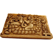 Old Jade Tablet of Mythical Winged God Riding Dragon