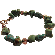 """Turquoise Nugget Bracelet with Silver Tone Bead Bracelet, 7.5"""""""